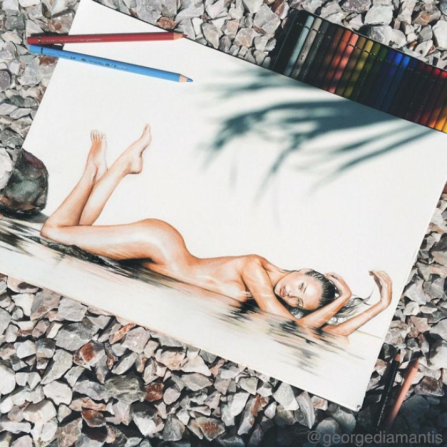 Renkli Kurşun Kalemlerle Gerçekçi Portreler galerisi resim 1