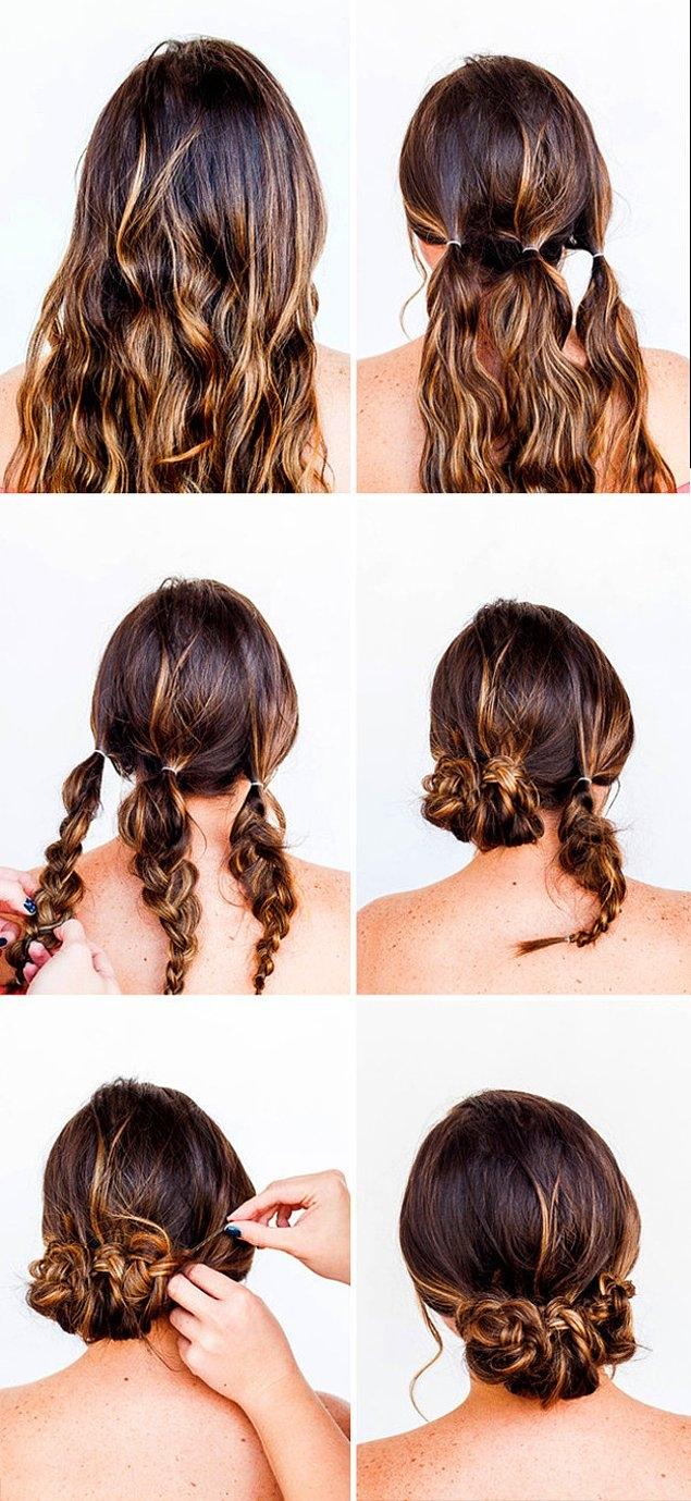 Причёска на быструю руку для средних волос