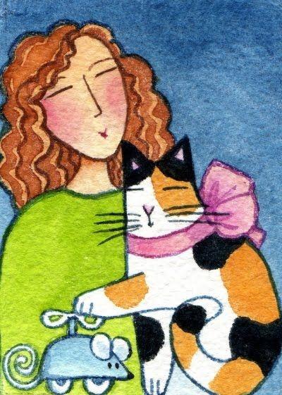 Kedili Kadınların Hayatlarını Aktaran Minimal Çizimler galerisi resim 1