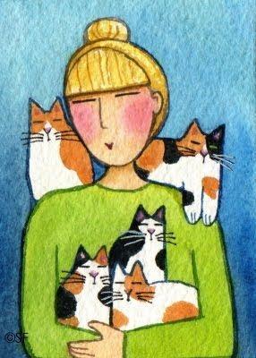 Kedili Kadınların Hayatlarını Aktaran Minimal Çizimler galerisi resim 12