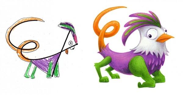 Çocuklarının Çizdiği Canavarları Çizgi Karakterlere Çeviren Sanatçı galerisi resim 3