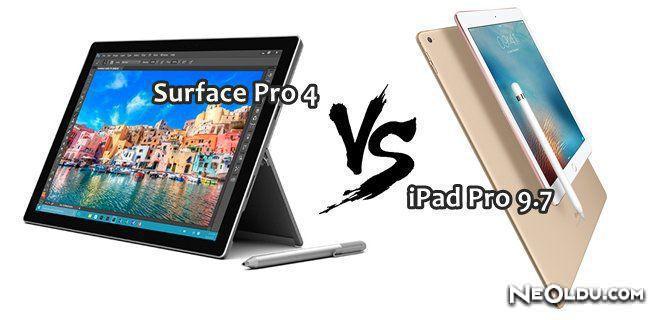 iPad Pro 9.7 Surface Pro 4 Karşılaştırması