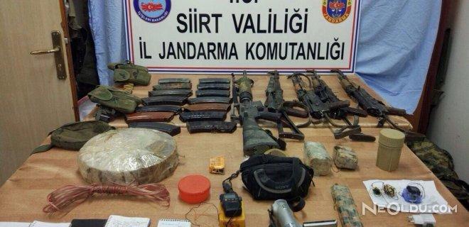 Siirt'te Teröristlerin Mühimmatları Ele Geçirildi