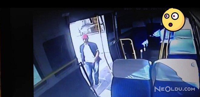 15 Saniyede Minibüsteki Paraları Çalıp Kaçtı