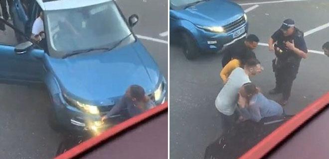 İnanılmaz Görüntüler! Kadın İki Araç Arasına Sıkıştı O Anlar Böyle Kaydedildi!