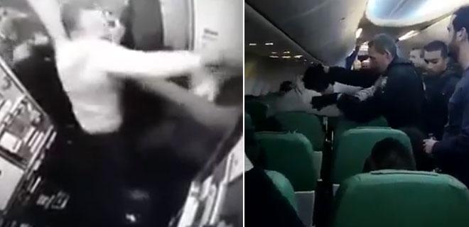 Uçakta Namazını Kıldıktan Sonra Kabin Memurunu Yumrukladı! İşte Flaş Görüntüler…