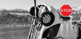 Kontrolden Çıkan Araç Denize Düştü
