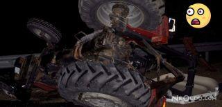 Yolcu Otobüsü ile Traktör Çarpıştı
