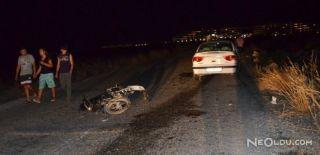 Didim'de Otomobil ile Motosiklet Çarpıştı
