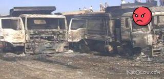 Teröristler 11 İş Makinesini Ateşe Verdi