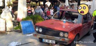 Afyon'da Otomobil Pazar Alanına Daldı