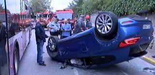 Beylerbeyi'nde Bir Otomobil Takla Attı