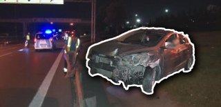 TEM Otoyolunda Kontrolden Çıkan Araç 2 Otomobile Çarptıktan Sonra Takla Atarak Durdu