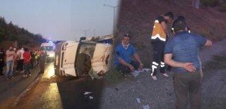 Tem Otoyolunda Feci Kaza! Servis Minibüsü Devrildi Çok Sayıda İşçi Yaralandı